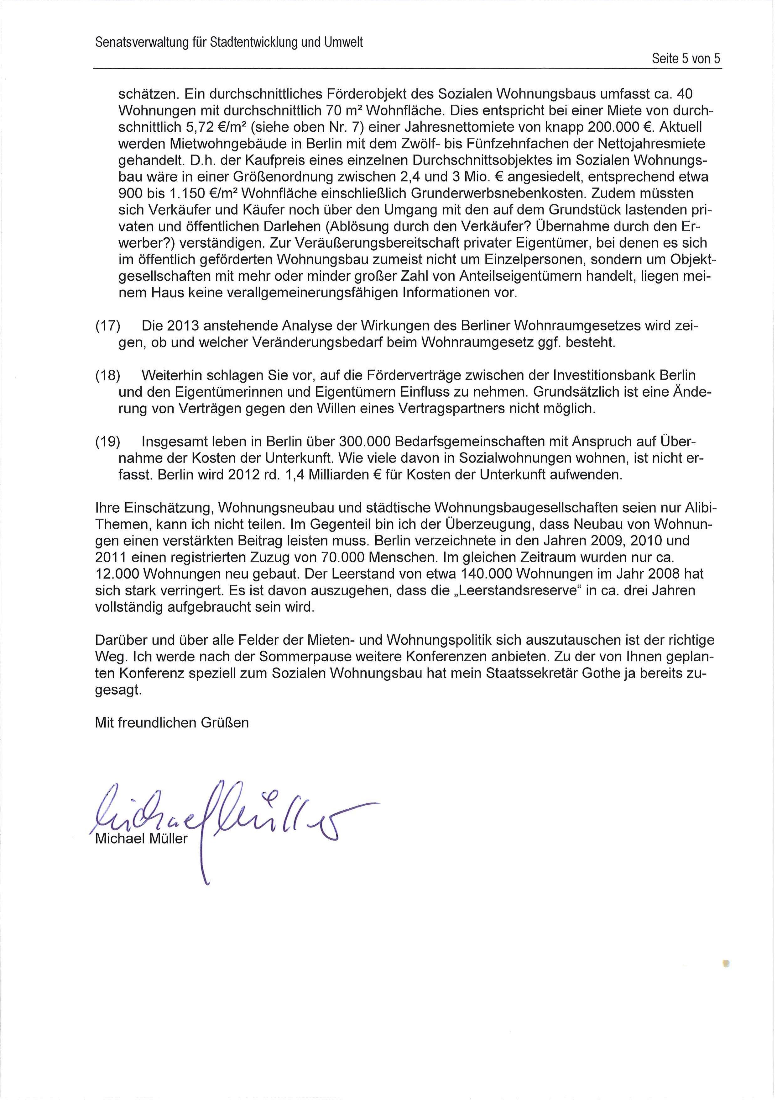 Zur Antwort von Senator Müller | Kotti & Co