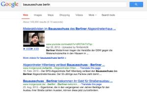 """Mieterproteste überall: Googleergebnis zu den Stichworten """"Bauausschuss Berlin"""""""